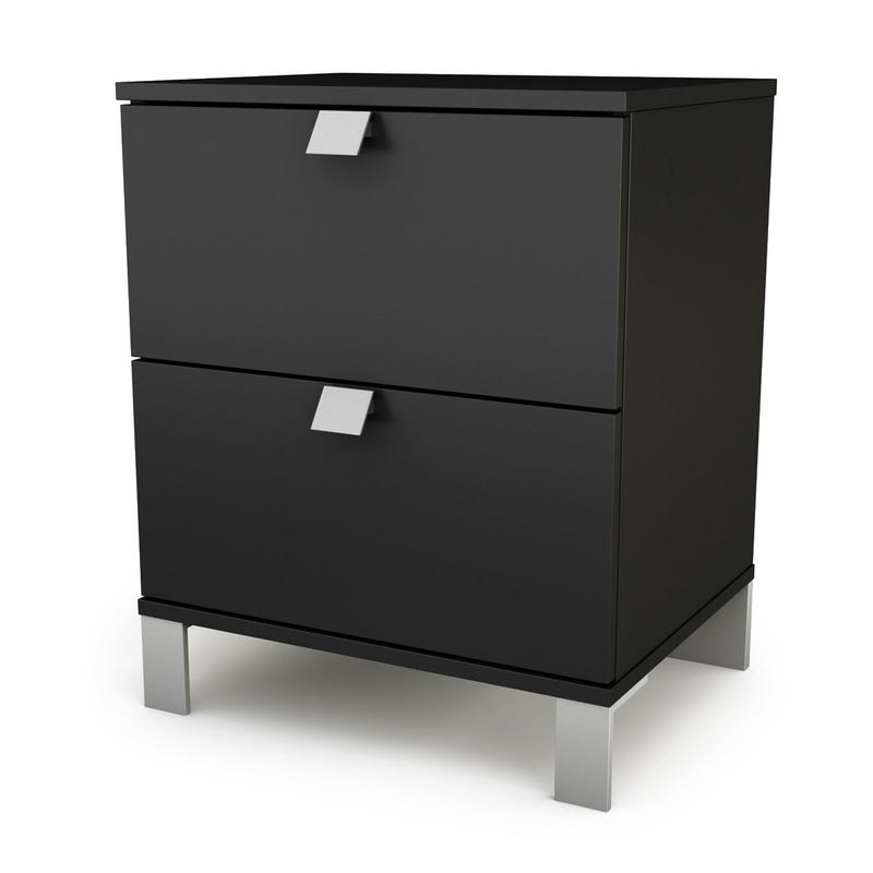 Spark 2-Drawer Nightstand - Pure Black