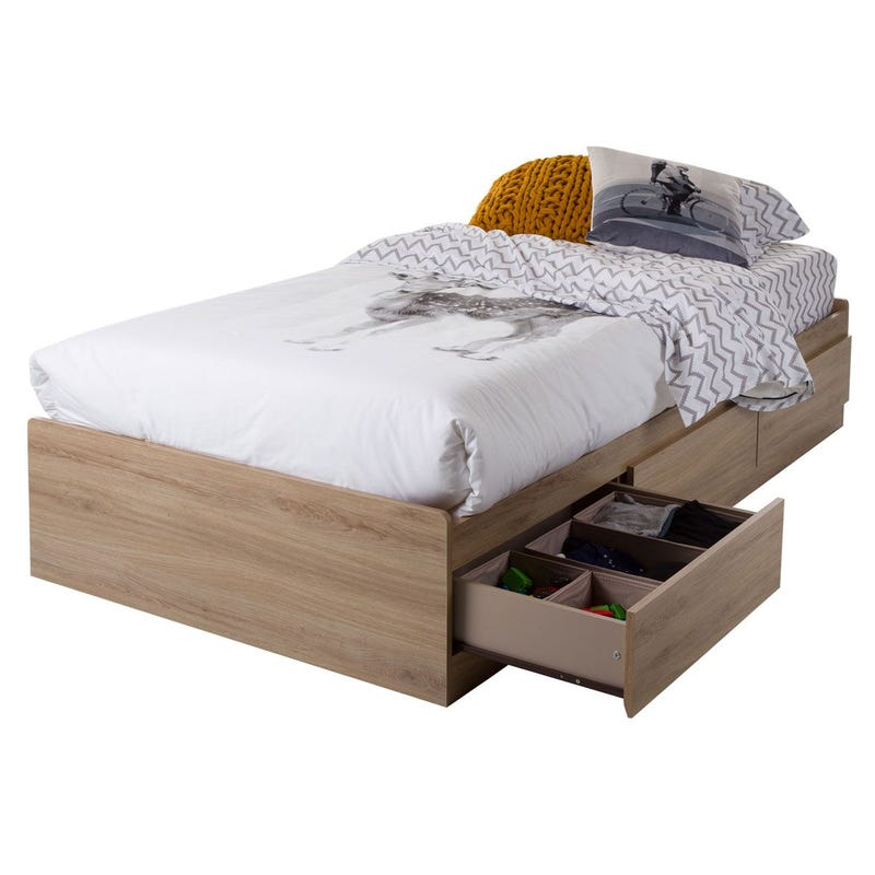 Fynn Twin Mates Bed with 3 Drawers - Rustic Oak