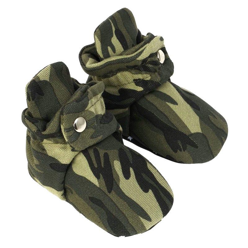 Camo Olive Snap Booties 0-12m