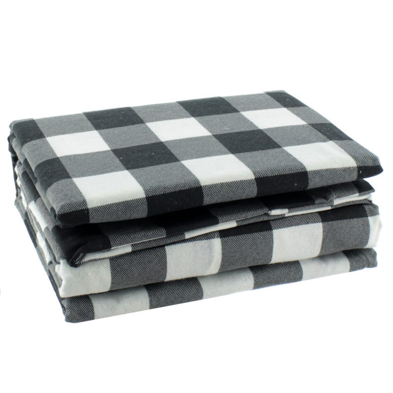 Twin Flannel Sheet Set - Black/White