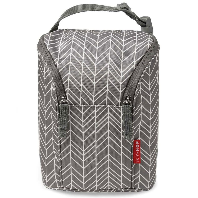 Grab and Go Double Bottle Bag - Gray Feathers