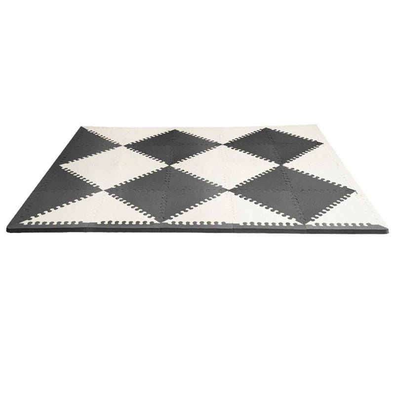 Playspot Geo Foam Floor Tiles - Black/Cream