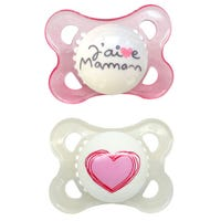 0-6months Pacifiers Set of 2 - J'aime Maman Rose