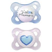 0-6months Pacifiers Set of 2 - J'aime Maman Bleu