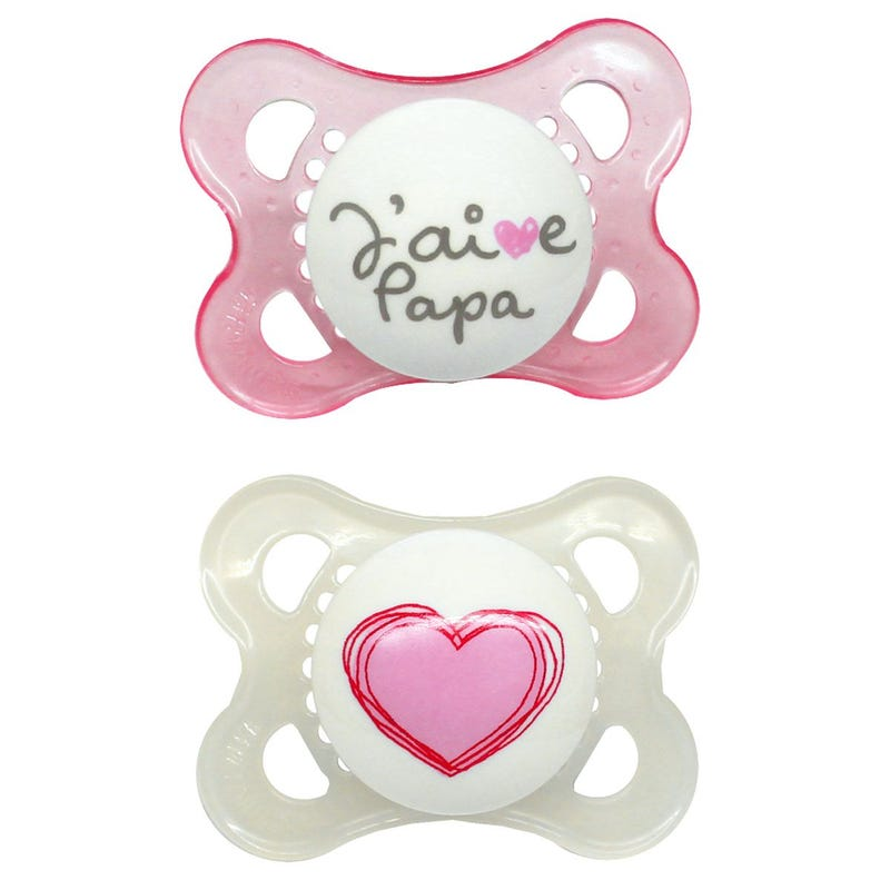 0-6months Pacifiers Set of 2 - J'aime Papa Rose