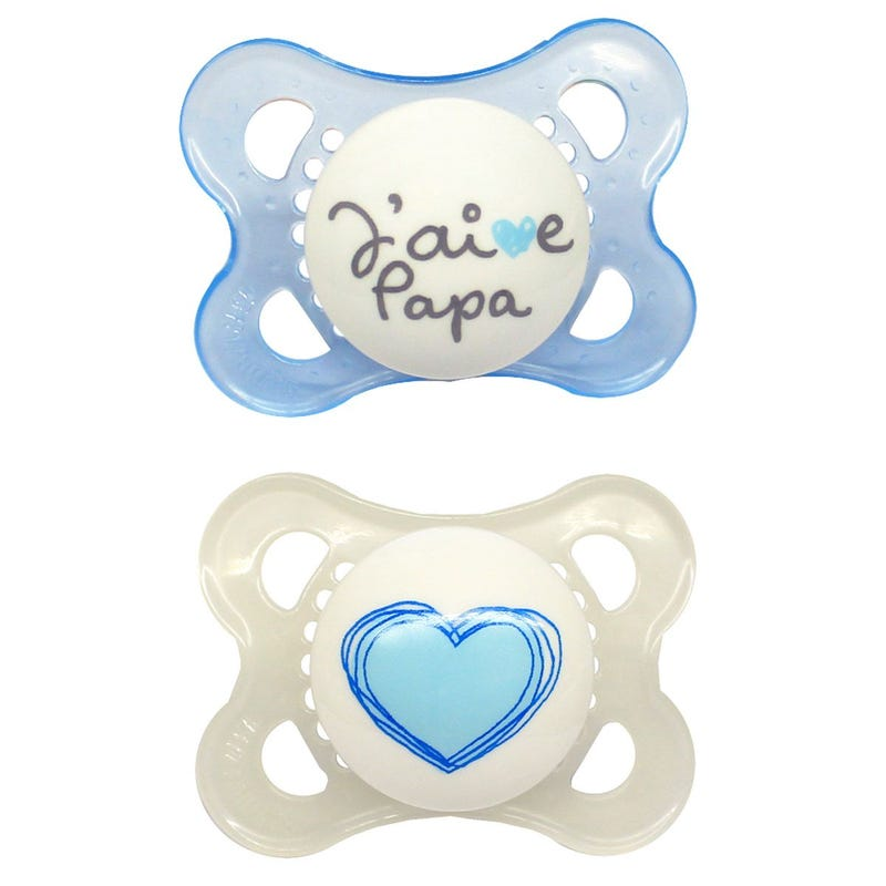 0-6months Pacifiers Set of 2 - J'aime Papa Bleu