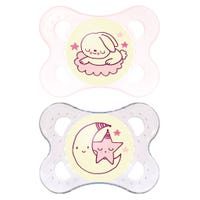 0-6months Pacifiers Set of 2 - Night Pink