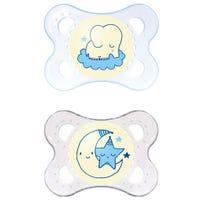 Suce Orthodontique Night 0-6mois Paquet de 2 - Bleu Brille dans le noir
