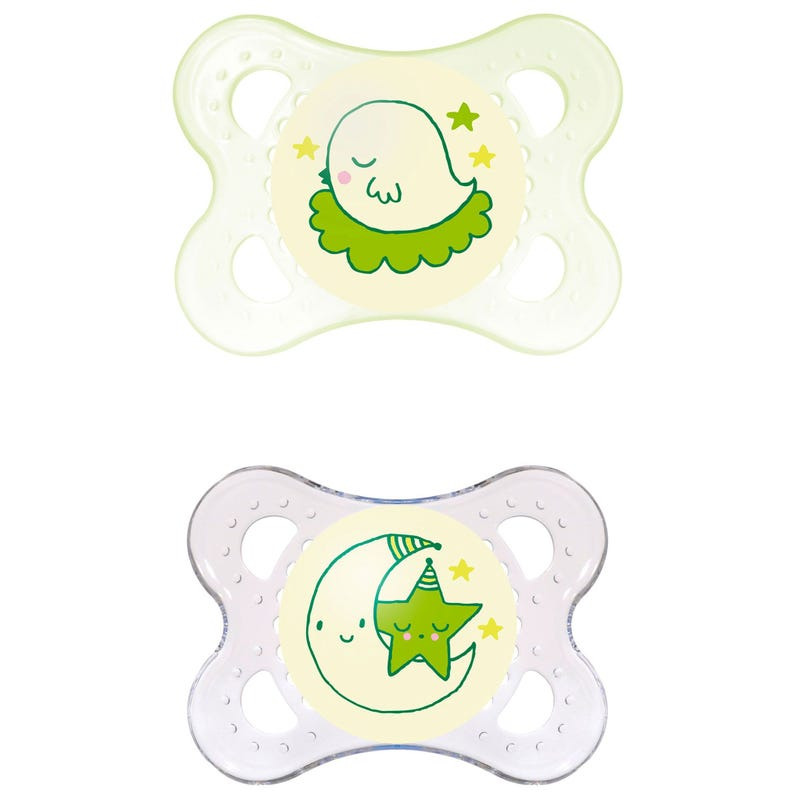 0-6months Pacifiers Set of 2 - Night Yellow