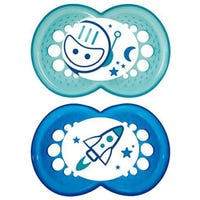 6months+ Pacifiers Set of 2 - Glowing Blue