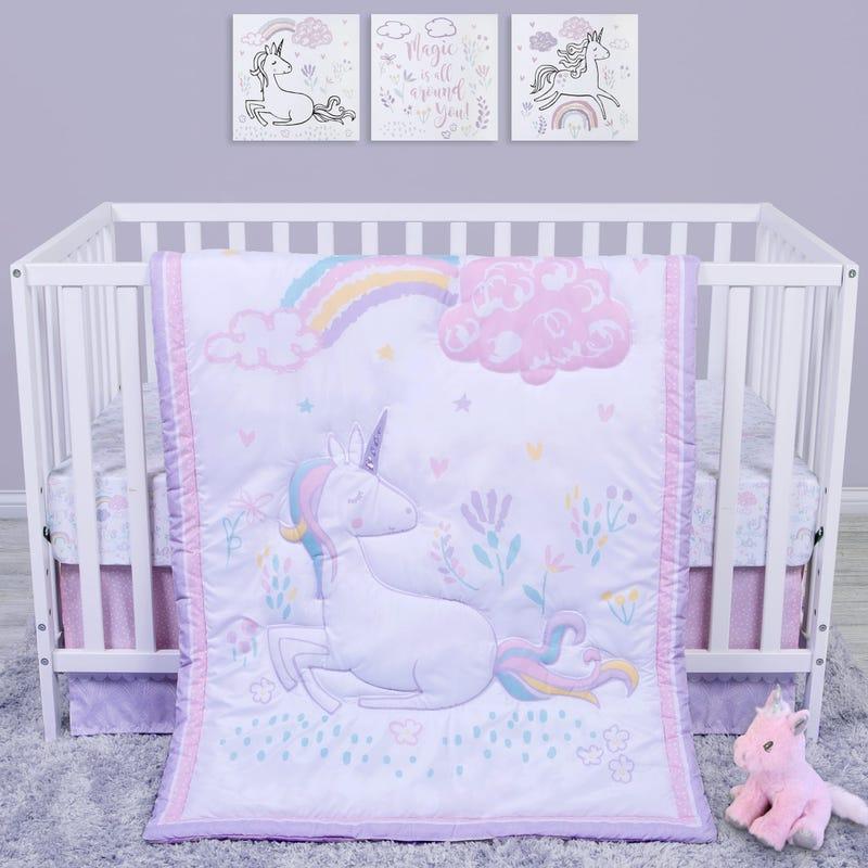 4-Piece Crib Bedding Set -  Unicorn