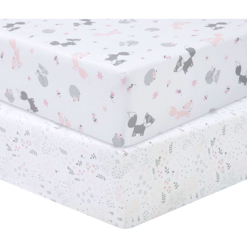 2 Pack Fitted Crib Sheets - Pink